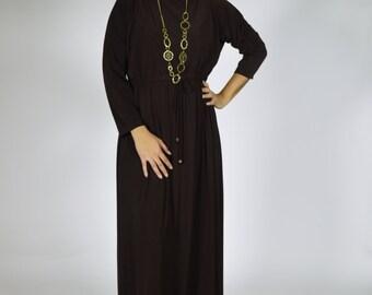 Boat neck dolman sleeve maxi /// Maxi dress, long sleeve, casual dress