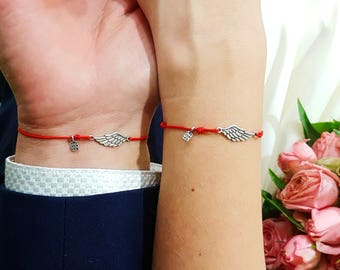 His and Her bracelet, boyfriend girlfriend, Angel wings bracelets, angel wing charm, matching bracelets, couple bracelets, couples jewelry