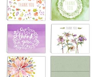 Floral Watercolor Thank You Cards (10 Cards + Sage Green Envelopes) - 5 Unique Designs