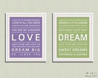 Nursery art print. Baby nursery decor. Art for children typography art for kids. Nursery wall quotes. SET OF 2 Cliche print