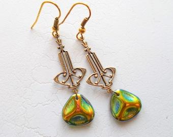 Pressed Czech Glass Green Goddess Art Deco Earrings