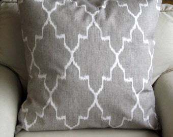 EURO COVER Ikat gray color on White   26x26 same fabric front and back