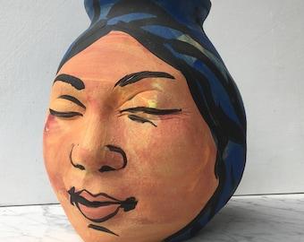 Face Vase Pottery Sculpture Buddha Head Wabi Sabi Ikebana Art Pot Meditation Painting Smile