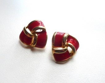 1980s Red And Gold Earrings