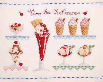 Ice-cream finished cross stitch, Gelato shop decoration, Hand embroidered home decor, Cottage chic, Red, Green, Blue, House warming gift,