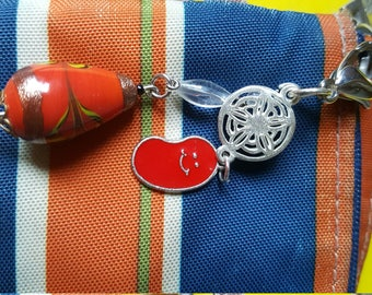 RECLAIMED- Repurposed Red JELLY Bean - Zipper Pull or Fan Pull