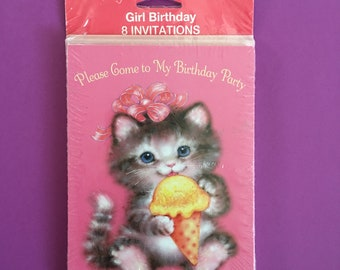 1980's-90's Birthday Party Invitations NIP // Set of 8 Cards With Envelopes In Original Packaging // Kitten Ice Cream Cone