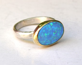 Blue Opal ring,Birthday gift, solitaire rings, Statement ring ,Gift for her, Oval ring, Valentines day gift, Anniversary gift, Women's gif