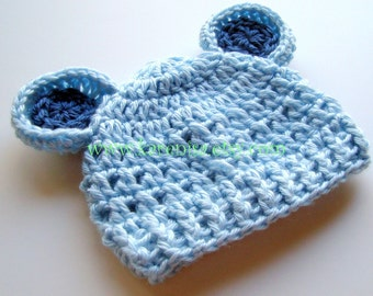 Crochet Baby Hat with Ears, Baby Boy Hat, Boys Winter Hat, Newborn Crochet Hat, Infant Boys Hat, Light Blue, Baby Blue, MADE TO ORDER