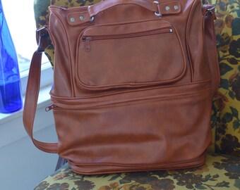 Surprise Zip ~ Mr Roberts DESIGNER Luggage BURNT ORANGE Vinyl Travel Bag