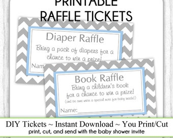 INSTANT Download - Book Raffle Tickets AND Diaper Raffle Tickets, Get BOTH Baby Shower Raffle Tickets, You Print