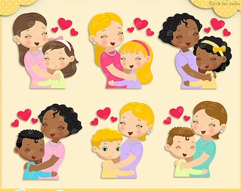 Mother Clipart , Mother and Children , I love mommy , Cute Clipart, Mothers Clipart, PBS010