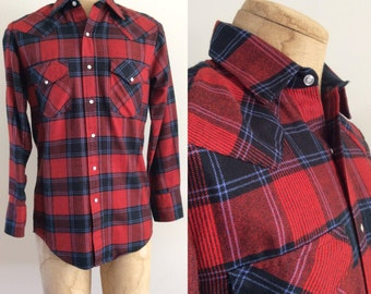 1970's Mens Red Plaid Pearl Snap Button Up Size
