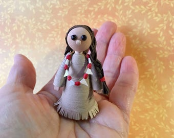 Paper quilling Native American woman Thanksgiving ornament
