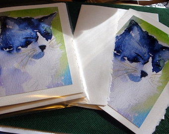 Water color greeting card single - portrait view of black and white kitty cat