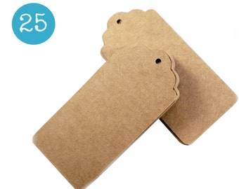 Scalloped kraft gift tags - 25 KRAFT BROWN cardstock parcel tags, hang tags - 1 3/4 x 3 3/4 inch - gift wrapping, wedding, packaging