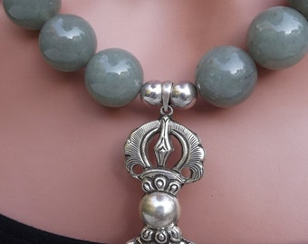 Light Greenish Blue Aventurine  Beads with Sterling Tibetan Dorje