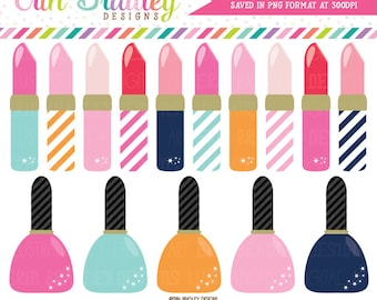 Lipstick and Nail Polish Clipart Girls Graphics Personal & Commercial Use Clip Art INSTANT Download