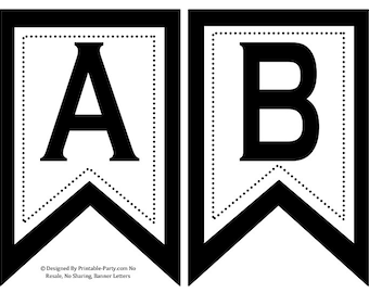 5x8 Inch Swallowtail Black Printable Banner Letters