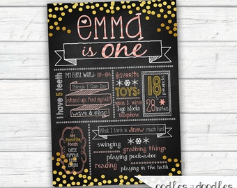 Winter ONEderland Chalkboard Poster, First Birthday, Pink, Gold, Girl's 1st Birthday, ONEderland Party, Winter Birthday, Printed, Printable