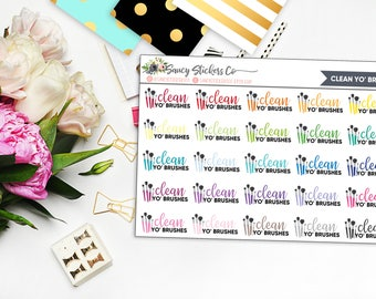 Clean Yo' Brushes Planner Stickers