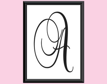 Typography DIGITAL PRINT Monogram Initial Wall Art BrockScript Letter A 5x7