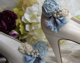 Wedding or Dress- Something blue, rolled rosette shoe clips