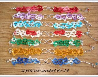 Infinity bracelet made of lace tatting/women's bracelet/ceremony/layering bracelet / handmade