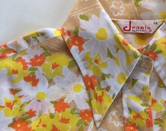 60s Jeanie Blue Bell - Mod Western Style Short Sleeve Blouse - VLV Rockabilly Blouse Mod floral Print