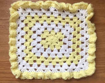 Yellow and White Barbie Doll Blanket - Granny Square - Hand Crochet