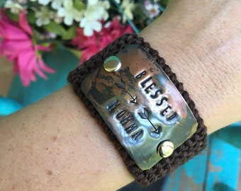 Custom Hand Stamped Brown Bracelet, Personalized Gift for Mom, Anniversary Gift, Friendship Gift, Blessed Momma Bracelet