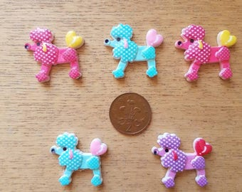 Set of 5 resin flat back poodles
