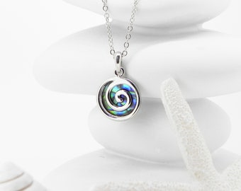 Abalone Necklace Abalone Pendant Spiral Necklace Birthday Gift for Her Hypoallergenic Jewelry Abalone Jewellery Handmade Paua Shell Necklace