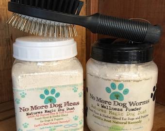Dog, Puppy Natural Flea Control Treatment, Flea Powder De-Wormer and Dog Grooming Brush
