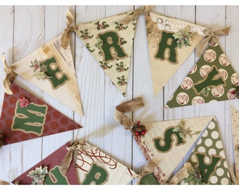 Rustic Woodland Merry Christmas Pennant Banner