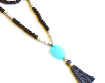 Handmade Gray Tassel Necklace THE SISSY Large Turquoise Bead, Silver and White Accent Beads, Black Wood Beads, Holiday Gift, Gift for Her
