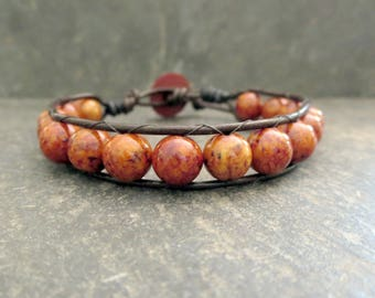 Orange Beaded Bracelet, Leather Wrap Earthy Rust Brown Accessories, Rocker Bohemian Hippie Style Jewelry, Rugged Gifts for Guys