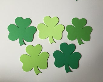 48 Shamrocks - Clover Paper Die Cuts - Paper Shamrocks - St. Patrick's Day Decor - You Choose Your Color and Size