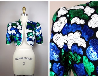 Clouds Sequin Embellished Bolero // Art Deco Blue and Green Sequined Cropped Jacket