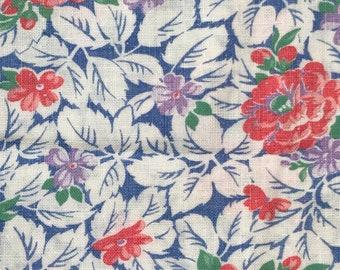 FQ Pink Dahlias Purple Pansies On Blue w/Green Vintage Novelty Floral Feedsack Flour Sack Cotton Quilt Fabric