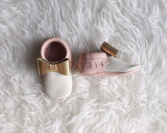 Miss Harlow | bow Mocs | Baby Mocs | Baby Moccasins | Mary Jane Mocs | soft soled shoes | mocs | baby gift | flower girl