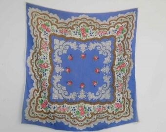 Vintage Scarf - Blue Floral Scarf - Silk - 1950s Vintage