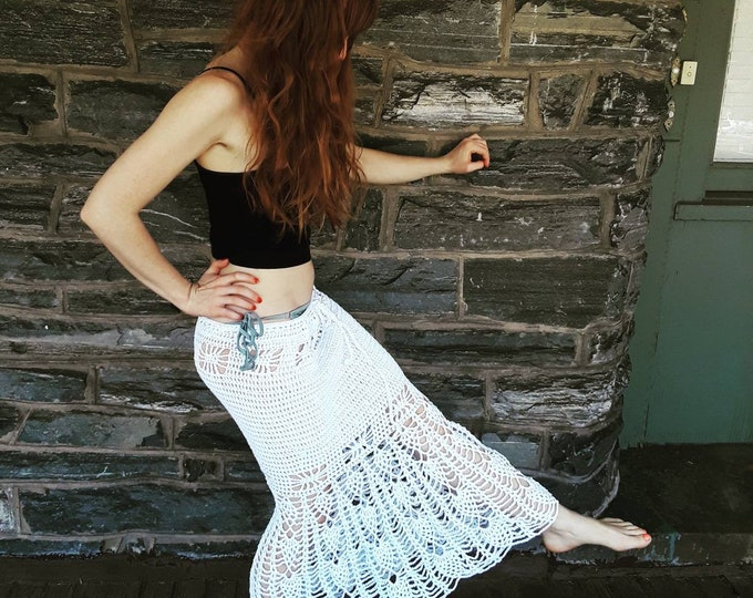 CROCHET MAXI SKIRT, crochet mermaid skirt, White crochet maxi skirt, beachwear, white Crochet dress, festival clothing, gift for her, boho