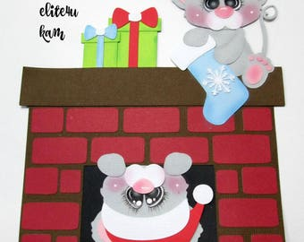 Elite4u Kam Christmas Mouse Fireplace Premade paper piecing for scrapbook page album
