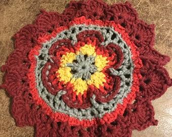 Handmade Floral Cotton Wash Cloth / Dish Cloth