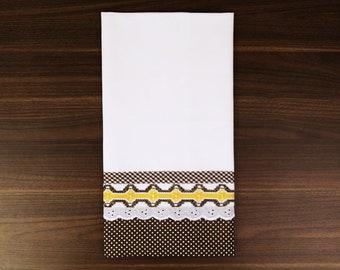 Brown Hand Embroidered Tea Towel - Swedish Weaving - UK