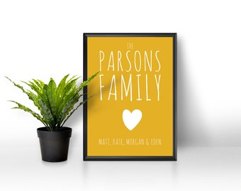 Personalised Family Print / Personalised Family Name Print / Family Print / Family Name Art