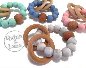 Silicone Teething Ring - Baby Toy - Silicone Beads - Teether Teething Toy - Chew Jewelry Beads - Chew Toy Beads - Rattle Rings