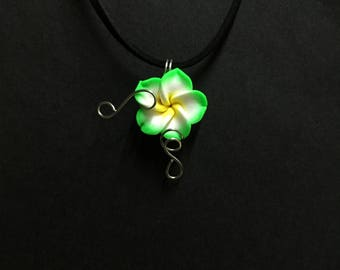 Green Flower Necklace, Sculpey Clay Flower Pendant Necklace