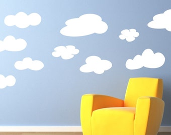 Cloud Wall Decals   Fluffy Clouds Kids Wall Decals   Vinyl Lettering Decal  Wall Art